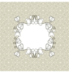 Greeting card with floral frame vector image