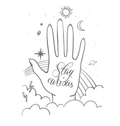 Hands palm with sacred and science symbols stay vector
