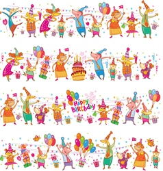 Happy birthday cartoon border vector image