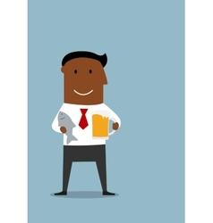 Manager celebrating end of a week with beer vector image