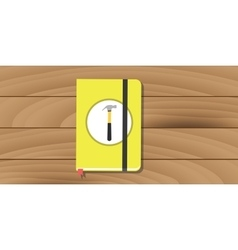 Manual user guide book yellow hammer icon flat vector