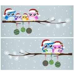 Owl christmas tree card vector