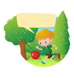 park scene with boy playing ball vector image vector image