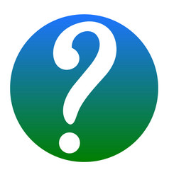 Question mark sign white icon in bluish vector