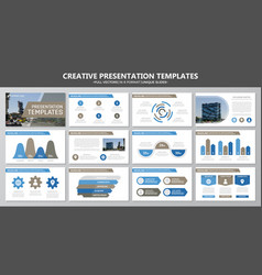 Set of brown and blue elements for multipurpose vector