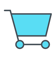 shopping cart pixel perfect thin line icon 48x48 vector image vector image