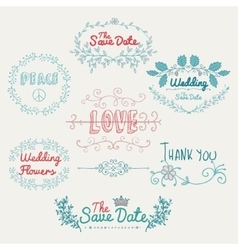 Sketched romantic colorful design elements vector