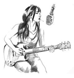 Smoking guitar player an hand drawn white vector