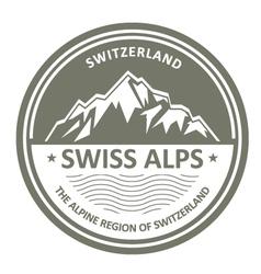 Snowbound Swiss Alps emblem - Switzerland stamp vector image