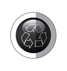 Sticker black circular frame with recycling symbol vector