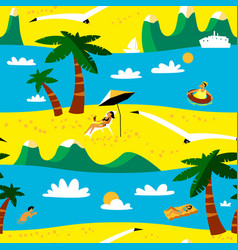 Summer beach seamless pattern tropical background vector