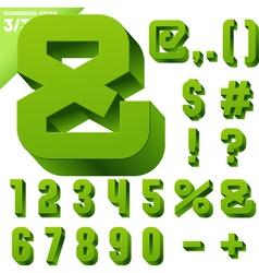 Three-dimensional condensed alphabet vector