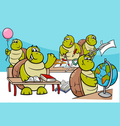 Turtle pupils cartoon characters group vector