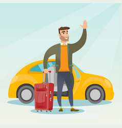 Young caucasian man waving in front of car vector