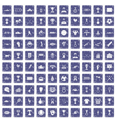 100 medal icons set grunge sapphire vector