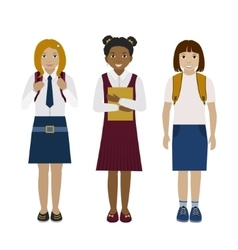 School girls flat vector