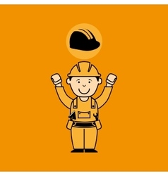 Avatar man construction worker with helmet icon vector