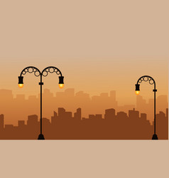 Silhouette of building background with street lamp vector