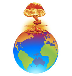 explosion earth disaster concept vector image