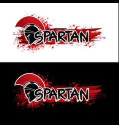 Spartan warrior helmet with font and blood graphic vector