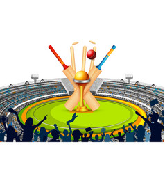 Stadium of cricket with bat wicket and trophy vector
