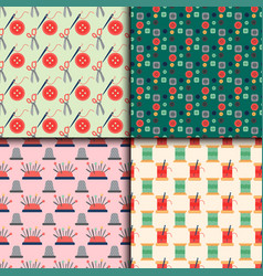 sewing buttons seamless pattern with vector image