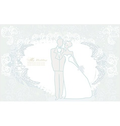 Elegant wedding invitation card with wedding vector