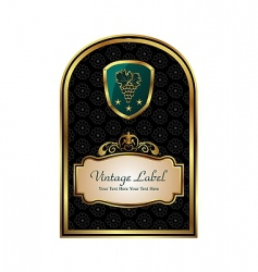 Golden frame label for packing vector