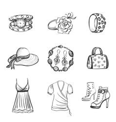 Hand drawn Fashion icons vector image