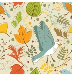 Autumn pattern with birds flowers and leaves vector