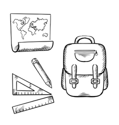 School backpack map pencil and rulers sketch vector image