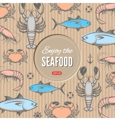 Seafood design template vector