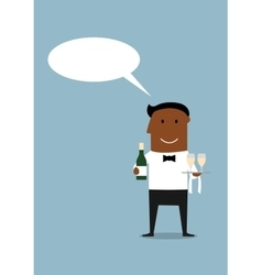 Happy waiter with bottle and wine glasses vector