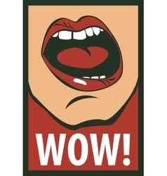 Human mouth screaming wow vector