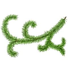 Decoration fir branch for christmas wreath green vector
