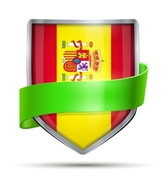 Shield with flag spain and ribbon vector