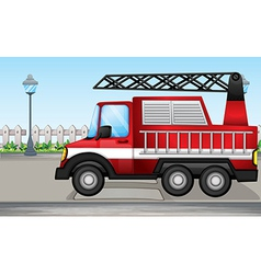A fire truck at the street vector image vector image