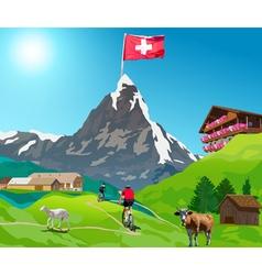 Alps matterhorn mountain landscape vector