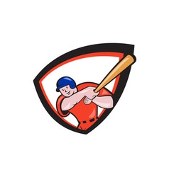 Baseball player batting front shield cartoon vector