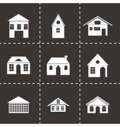 black buildings icons set vector image