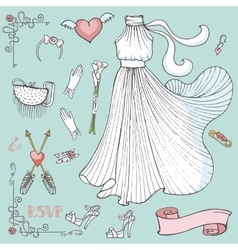Bridal shower dressaccessoriesdecor setvintage vector