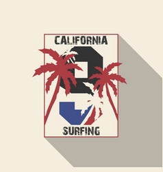 california beach typography with palms vector image