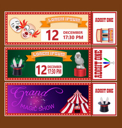 Circus show tickets templates with sample text vector