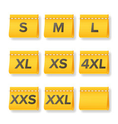 Clothing size labels set isolated on white vector