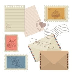 Collection of mail design elements vector image