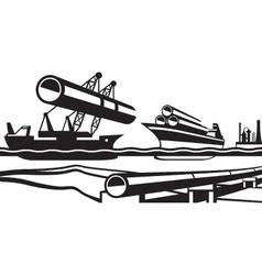 Construction of industrial pipeline under water vector image vector image