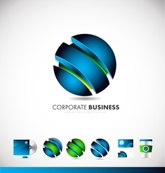 Corporate business blue 3d sphere logo icon design vector image vector image