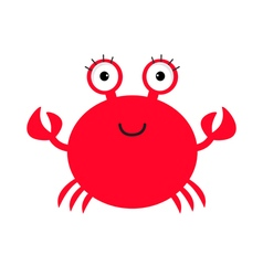 Crab icon Cute cartoon baby character Sea ocean vector image