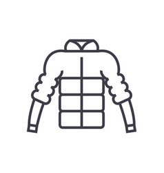 down jacket line icon sign vector image vector image