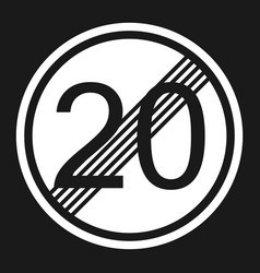 End maximum speed limit 20 sign flat icon vector